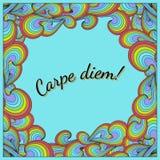Θετική κάρτα με Carpe diem και το ουράνιο τόξο Διανυσματική απεικόνιση