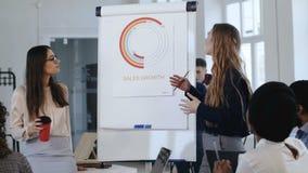 Θετική νέα κύρια επιχειρησιακή γυναίκα που δίνει τις κατευθύνσεις στους multiethnic συνεργάτες στο σύγχρονο κύκλο μαθημάτων κατάρ απόθεμα βίντεο