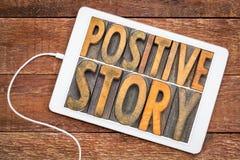 Θετική περίληψη λέξης ιστορίας στον ξύλινο τύπο Στοκ Φωτογραφίες
