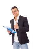 Θετικός επιχειρηματίας με τις σημειώσεις και τη μάνδρα Στοκ φωτογραφία με δικαίωμα ελεύθερης χρήσης