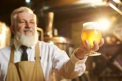 Θετικό γυαλί μπύρας εκμετάλλευσης ζυθοποιών με τον αφρό στοκ εικόνες