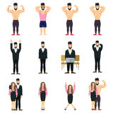 Θετικό σύνολο εικονιδίων ανθρώπων Θετική τοποθέτηση Bodybuilder Θετικό επιχειρηματιών Θετικό επιχειρηματιών Στοκ Εικόνες