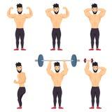 Θετικό bodybuilder που θέτει το εικονίδιο που τίθεται στο άσπρο υπόβαθρο Θετικοί άνθρωποι σώματος Στοκ εικόνα με δικαίωμα ελεύθερης χρήσης