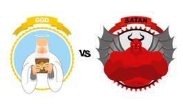 Θεός εναντίον της Satan Καλός παππούς με την άσπρη γενειάδα και φωτοστέφανος επάνω από το χ διανυσματική απεικόνιση