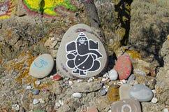 Θεός Ganesha - που επισύρει την προσοχή σε μια πέτρα σε έναν προσωρινό βωμό Στοκ φωτογραφίες με δικαίωμα ελεύθερης χρήσης