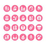Θηλάζοντας, διανυσματικά επίπεδα εικονίδια glyph παιδικών τροφών Στήθος - στοιχεία σίτισης - αντλία, γυναίκα, παιδί, κονιοποιημέν ελεύθερη απεικόνιση δικαιώματος