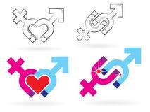 θηλυκά αρσενικά σύμβολα μαγνητισμού Στοκ φωτογραφίες με δικαίωμα ελεύθερης χρήσης