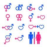 θηλυκά αρσενικά σύμβολα Διανυσματική απεικόνιση