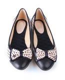 Θηλυκά επίπεδα παπούτσια μπαλέτου Στοκ Φωτογραφίες