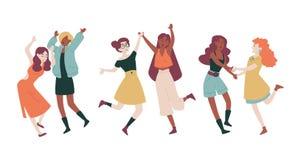 Θηλυκά κορίτσια διακοπών διακοπών κομμάτων σπουδαστών φίλων χορεύοντας με τα χέρια τους που πηδούν επάνω έχοντας τη διασκέδαση απεικόνιση αποθεμάτων