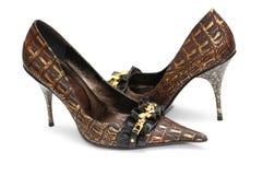 θηλυκά λαμπρά παπούτσια ζ&epsi Στοκ Φωτογραφία