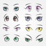 Θηλυκά μάτια κινούμενων σχεδίων Μάτια κινηματογραφήσεων σε πρώτο πλάνο των όμορφων γυναικών ελεύθερη απεικόνιση δικαιώματος