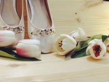 Θηλυκά παπούτσια σε ένα χαμηλό τακούνι στο ξύλινο υπόβαθρο στοκ εικόνες με δικαίωμα ελεύθερης χρήσης