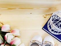 Θηλυκά παπούτσια σε ένα χαμηλό τακούνι στο ξύλινο υπόβαθρο στοκ φωτογραφίες με δικαίωμα ελεύθερης χρήσης