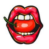 Θηλυκά προκλητικά κόκκινα χείλια με ένα juicy κεράσι ελεύθερη απεικόνιση δικαιώματος
