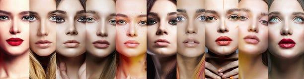 Θηλυκά πρόσωπα κολάζ των όμορφων γυναικών στοκ φωτογραφία