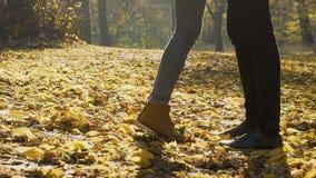 Θηλυκά πόδια που πλησιάζουν το άτομο και τη στάση tiptoe στο φιλί, ρομαντική ημερομηνία στο πάρκο απόθεμα βίντεο