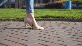 Θηλυκά πόδια στα υψηλά παπούτσια τακουνιών που περπατούν στην αστική οδό Πόδια της νέας γυναίκας στα ψηλοτάκουνα υποδήματα που πη απόθεμα βίντεο