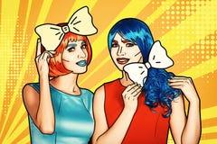 Θηλυκά στις κόκκινες και μπλε περούκες Κορίτσια με τον κίτρινο τόξο-δεσμό στα χέρια διανυσματική απεικόνιση