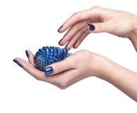 Θηλυκά χέρια με τον μπλε έλατο-κώνο Χριστουγέννων και το λαμπρό manicu καρφιών Στοκ φωτογραφίες με δικαίωμα ελεύθερης χρήσης