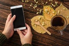 Θηλυκά χέρια που δακτυλογραφούν στο κινητό τηλέφωνο στον αγροτικό πίνακα με τα φύλλα και τον καυτό καφέ σε το Στοκ φωτογραφία με δικαίωμα ελεύθερης χρήσης