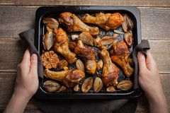 Θηλυκά χέρια που κρατούν το καυτό φύλλο ψησίματος από ψημένα τα φούρνος πόδια κοτόπουλου με τα κρεμμύδια και το σκόρδο Μια γυναίκ Στοκ εικόνες με δικαίωμα ελεύθερης χρήσης