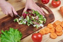 Θηλυκά χέρια που τεμαχίζουν την πράσινη σαλάτα, που μαγειρεύει τη σαλάτα λαχανικών στο ξύλινο υπόβαθρο Στοκ φωτογραφίες με δικαίωμα ελεύθερης χρήσης