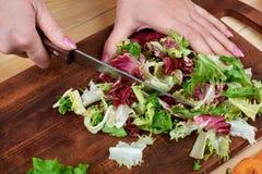 Θηλυκά χέρια που τεμαχίζουν την πράσινη σαλάτα, που μαγειρεύει τη σαλάτα λαχανικών στο ξύλινο υπόβαθρο Στοκ Εικόνα