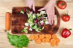 Θηλυκά χέρια που τεμαχίζουν την πράσινη σαλάτα, που μαγειρεύει τη σαλάτα λαχανικών στο ξύλινο υπόβαθρο Στοκ Εικόνες