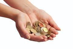 θηλυκά χρήματα χεριών Στοκ Φωτογραφία