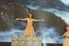 Θηλυκές αποδόσεις τραγουδιστής-τραγουδιού και χορού Στοκ Εικόνες