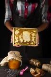 Θηλυκές κηρήθρες λαβής χεριών Στοκ Φωτογραφία