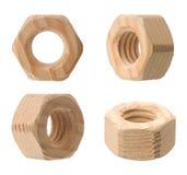 θηλυκή βίδα καρυδιών ξύλινη Στοκ Εικόνα