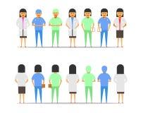 Θηλυκή διανυσματική απεικόνιση ep10 άποψης μπροστινός-πλατών ομάδας γιατρών διανυσματική απεικόνιση