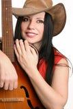 θηλυκή κιθάρα ο μουσικός της στοκ φωτογραφίες