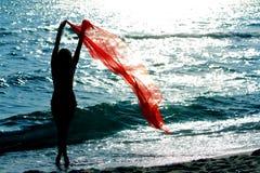 Θηλυκή σκιαγραφία στην ανασκόπηση θάλασσας ηλιοβασιλέματος Στοκ Φωτογραφίες