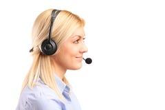 θηλυκή υπηρεσία χειριστών πελατών Στοκ Εικόνα
