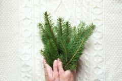 Θηλυκοί κλάδοι χριστουγεννιάτικων δέντρων λαβής χεριών σε ένα άσπρο πλεκτό υπόβαθρο Τοπ όψη Στοκ Εικόνες