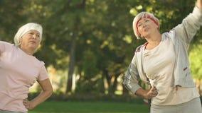 Θηλυκοί συνταξιούχοι που τεντώνουν στο πάρκο πρίν εκπαιδεύει, που θερμαίνει το ανώτερο σώμα απόθεμα βίντεο