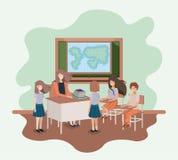 Θηλυκός δάσκαλος στην κατηγορία γεωγραφίας με τους σπουδαστές διανυσματική απεικόνιση