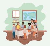 Θηλυκός δάσκαλος στην κατηγορία γεωγραφίας με τους σπουδαστές απεικόνιση αποθεμάτων