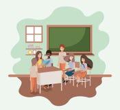 Θηλυκός δάσκαλος στην τάξη με τους σπουδαστές διανυσματική απεικόνιση