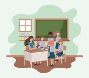 Θηλυκός δάσκαλος στην τάξη με τους σπουδαστές ελεύθερη απεικόνιση δικαιώματος
