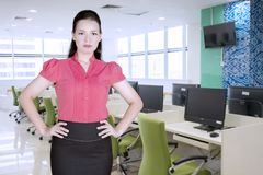 Θηλυκός διευθυντής που στέκεται στο γραφείο Στοκ φωτογραφία με δικαίωμα ελεύθερης χρήσης