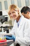 Θηλυκός επιστήμονας που χρησιμοποιεί τον υπολογιστή ταμπλετών στο εργαστήριο Στοκ Φωτογραφία