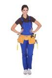 Θηλυκός εργάτης οικοδομών με Toolbelt Στοκ Εικόνα
