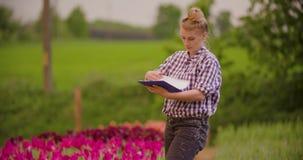 Θηλυκός ερευνητής που περπατά εξετάζοντας τις τουλίπες στον τομέα φιλμ μικρού μήκους