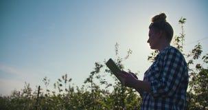 Θηλυκός ερευνητής που χρησιμοποιεί την ψηφιακή ταμπλέτα στο αγρόκτημα απόθεμα βίντεο