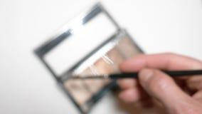 Θηλυκός θύσανος σκιών ματιών χεριών στην άσπρη απομόνωση υποβάθρου r φιλμ μικρού μήκους