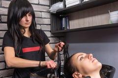Θηλυκός κομμωτής brunette που κτενίζει την τρίχα της νέας γυναίκας Στοκ Φωτογραφία